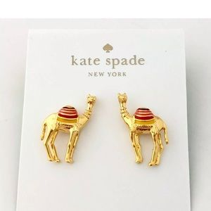 Kate Spade Gold-Tone Enamel Camel Earrings